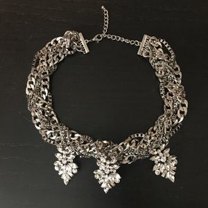 SILVER DIAMOND STATEMENT NECKLACE